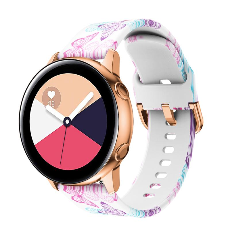 NEW <font><b>20mm</b></font> Printing <font><b>Silicone</b></font> Watchband For Samsung Galaxy Watch Active/active2 40mm /Amazfit GTR 42mm/GTS <font><b>Bracelet</b></font> <font><b>Band</b></font> Strap image