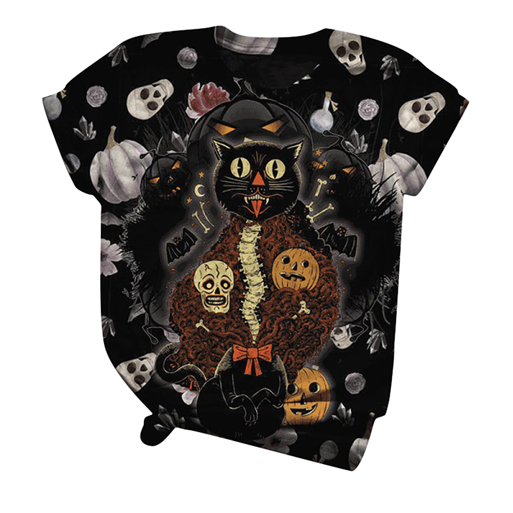 woman tshirts Halloween Round Neck Printed Women's T-shirt Short Sleeved With t shirt women