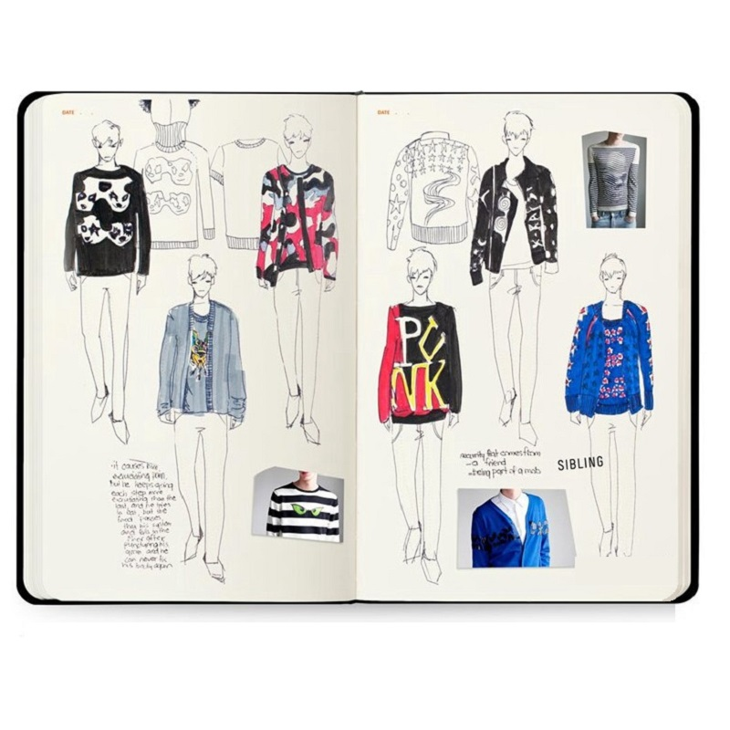 Mens Sketchbook A4 With Extensive Fashion Information and Blended Figure Templates Fashion Flat Drawing