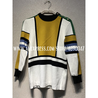 Geometric color matching wool silk sweater high quality women's cropped sleeve sweater pullover