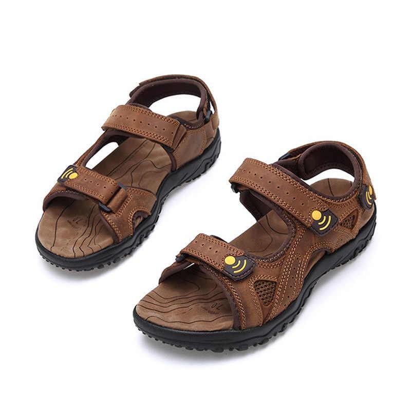 Lato wypoczynek plaża mężczyźni buty kostki pasek wysokiej jakości skórzane sandały otwarte palce Vintage rzym przeciwpoślizgowe obuwie męskie duży rozmiar