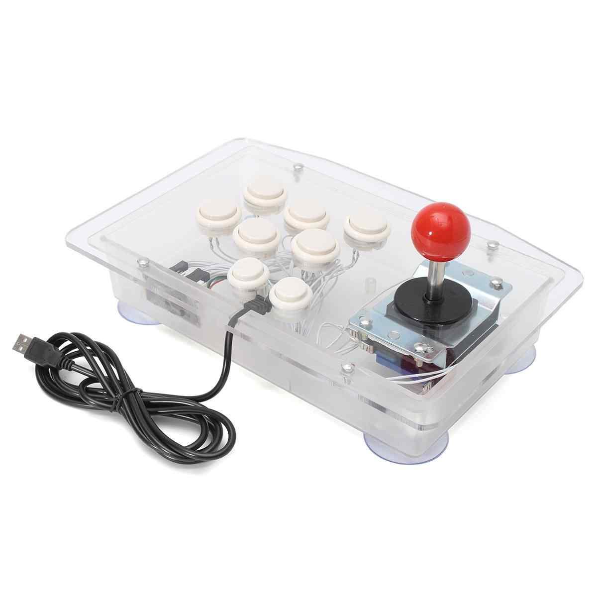 Jogo de computador joystick com cores transparentes e conector usb para windows win7 win8 win10 jogos de arcada, plug & play