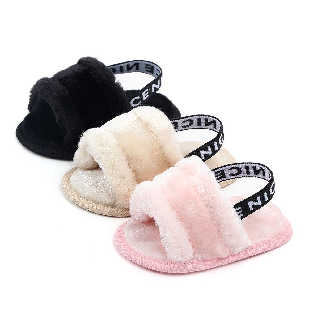 Baby Slipper First Walkers Baby Girls Boys Fuzzy Soft Crib Shoes Letter Elastic Band Solid Crib Pram Prewalker