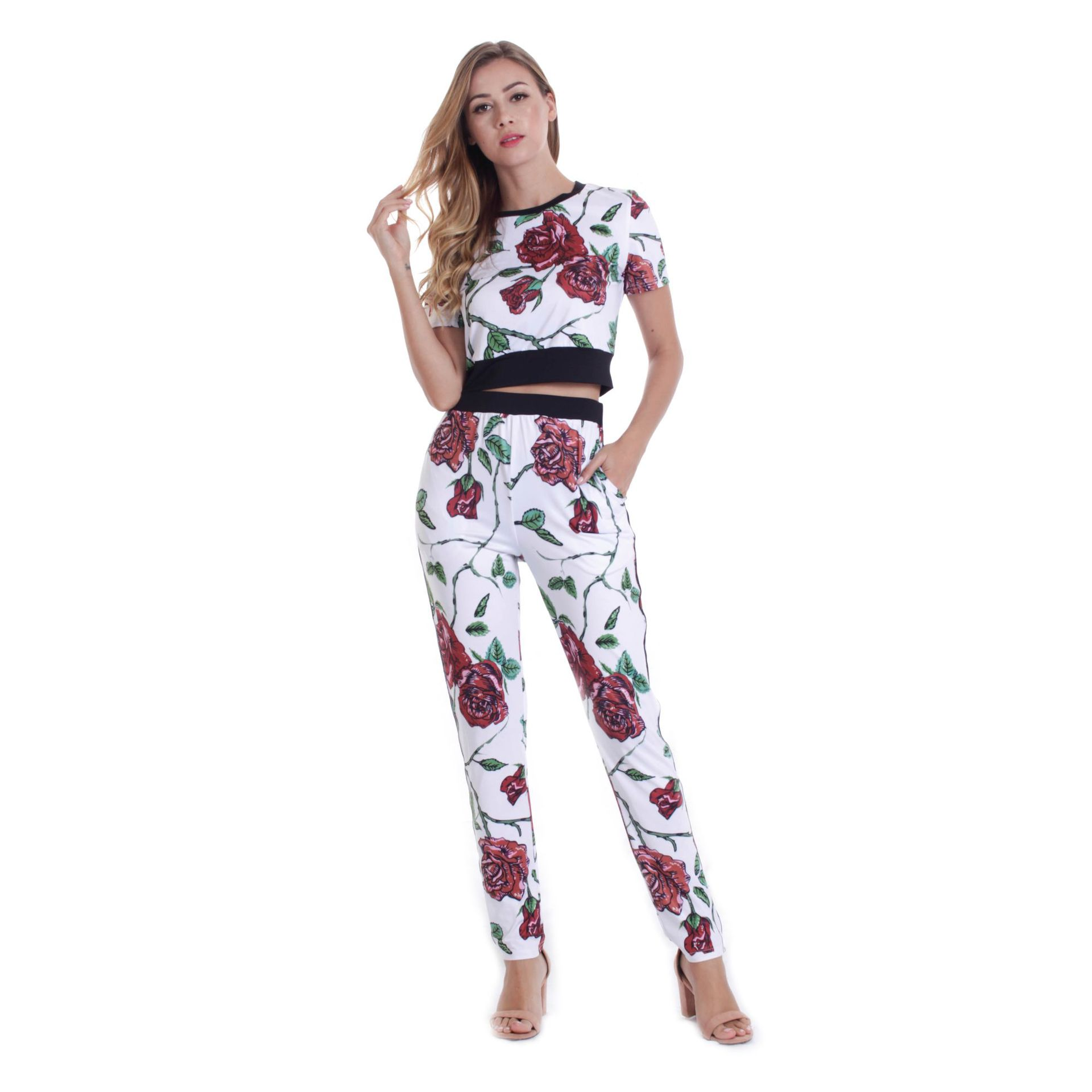 A Generation Of Fat Hot Sales Hot Selling  Summer Fashion & Sports Set WOMEN'S Short Sleeved Printed Closing Foot Leisure Su