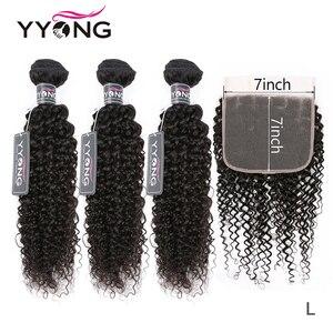 Pacotes de cabelo encaracolado kinky brasileiro de yyong com 7x7 fechamento remy pré arrancar fechamento do laço com pacote pacotes de 30 polegadas com frontal