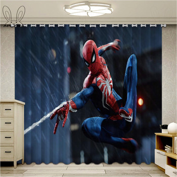 Fashion Spider Man Blackout Window Drapes 3D Curtains For Living room Bed room Office Hotel Home Superhero Curtains 1