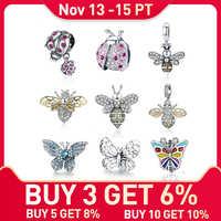 WOSTU véritable 925 argent Sterling coccinelle histoire abeille papillon insecte perles CZ pendentif à breloque idéal pour bracelet fabrication de bijoux