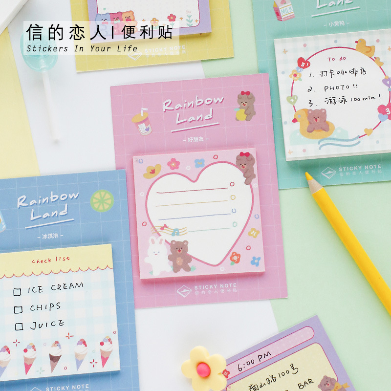 30 Sheets Kwaii Cartoon Animal Sticky Note Set INS Rainbow Color Daily To Do List Post It Planner Sticker Time Manage Notepad image