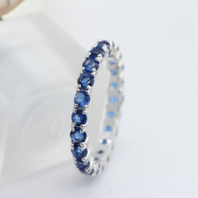 lingmei Engagement Round Cut Women Circle Blue & White Zircon Silver 925 Ring Size 6 7 8 9 10 11 Jewelry for Ladies Vintage Gift