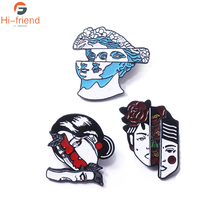 Hot Fashion Split Face Brooches Pins Blue Flower Hair Statue Woman Enamel Badges Lapel Pin For Men Girl Bag Coat Jewelry