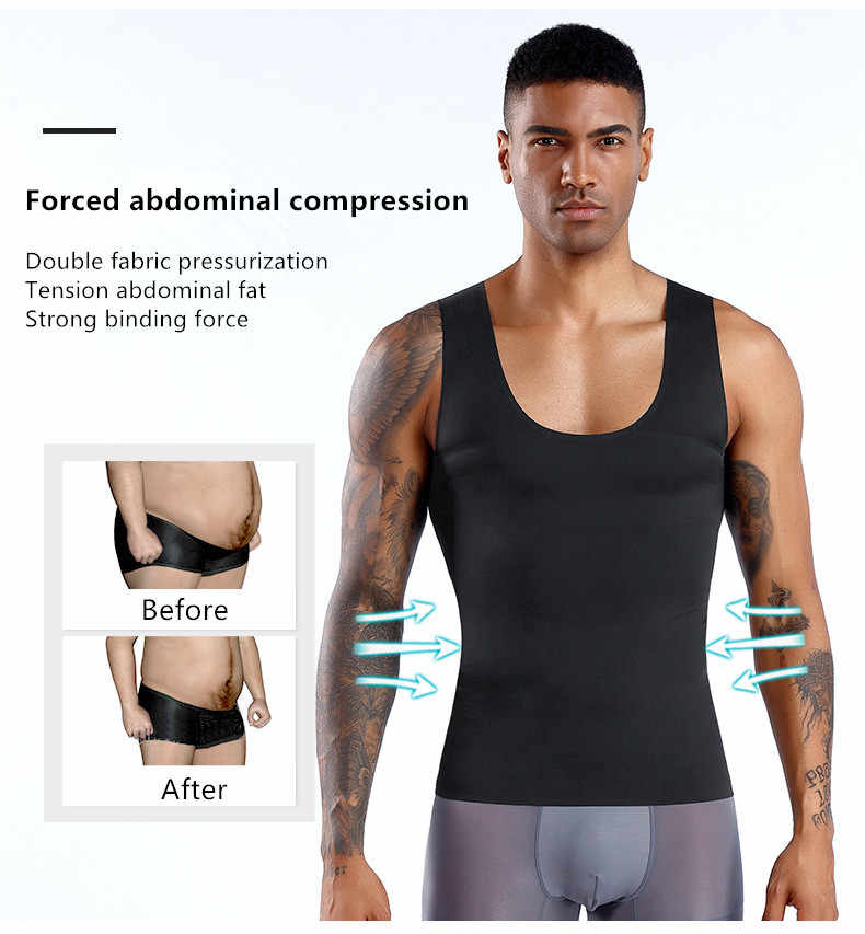 Hot Men Shaper kamizelka wyszczuplanie ciała T shirt męski pasek modelowania pasek brzuch brzuch pas wyszczuplający talię koszulka kompresyjna Shapewear