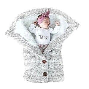 Image 3 - Coperta per bambini calda maglia per neonato Swaddle Wrap morbido sacco a pelo per bambini coprigambe busta in cotone per passeggino accessori coperta
