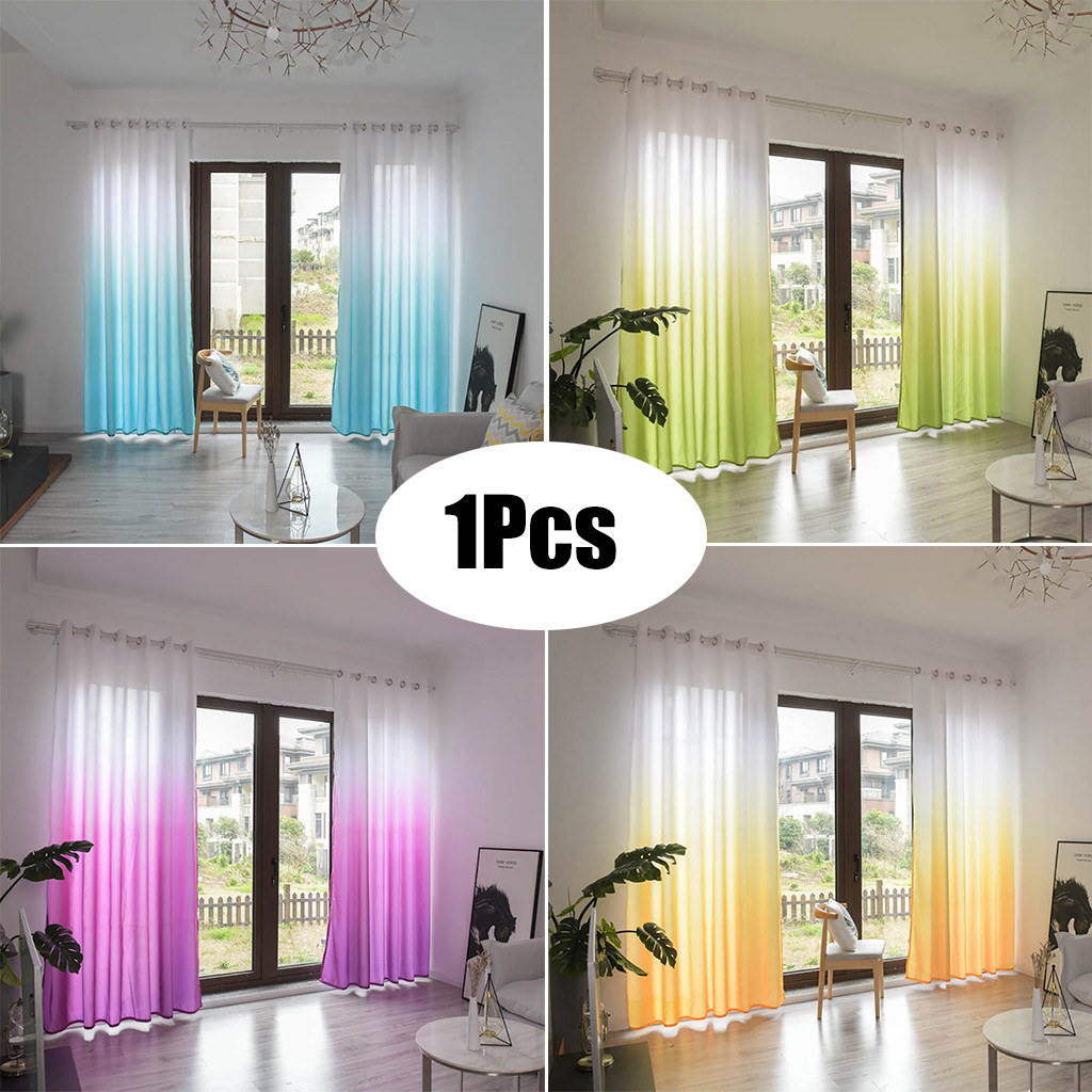 Blackout curtains Leaves Sheer Curtain Tulle Window Treatment Voile Drape Valance 1 Panel Fabric curtains for the living room#L4