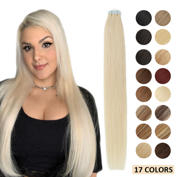 MRSHAIR Skin Weft Human Hair Tape In Extensions Blonde Hair Natural Machine Remy Hair Straight Double Sided Adhesives Hair 20pcs 1