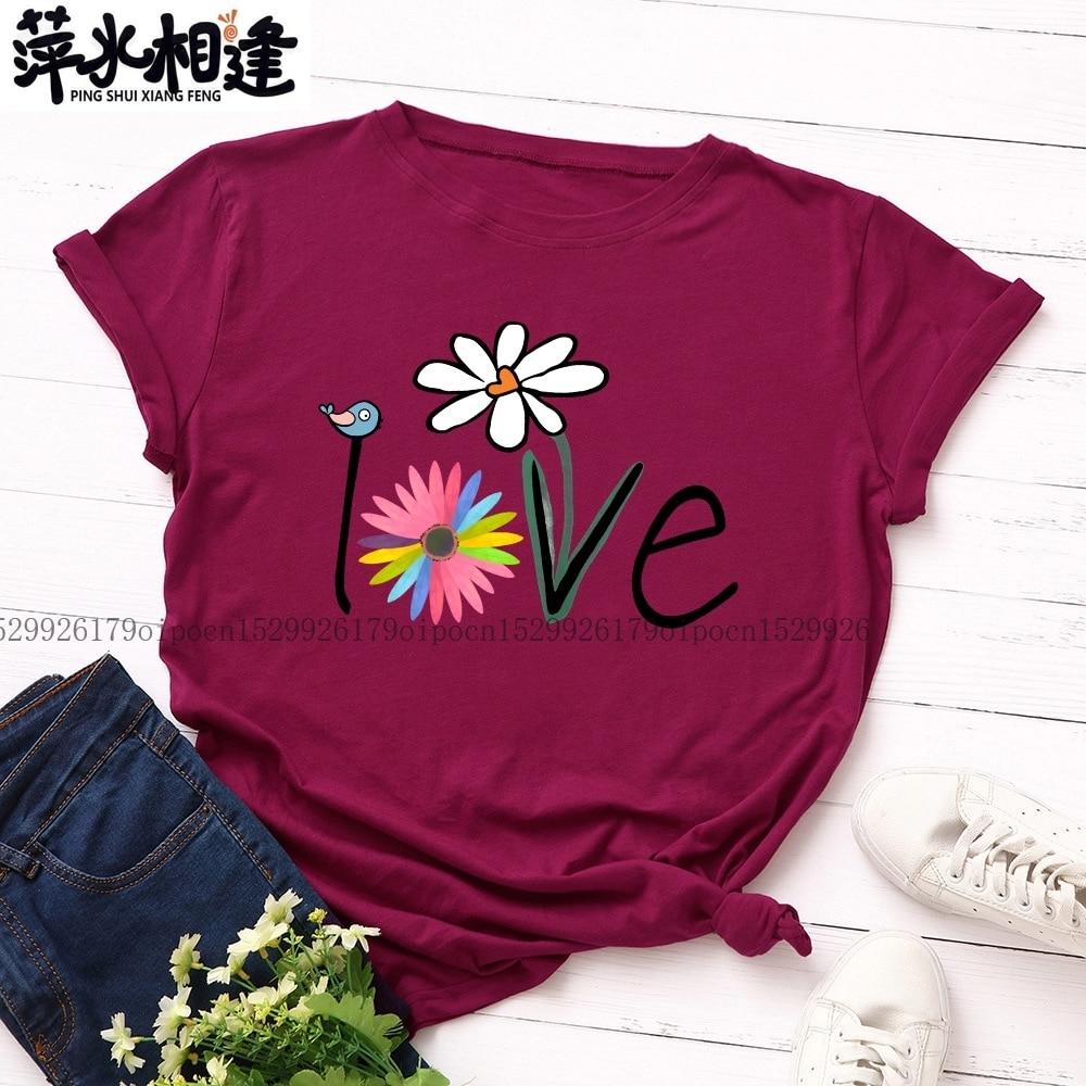 Размера плюс S-5XL женская футболка 100% хлопок милые птицы Цветочный принт с О-образным вырезом с коротким рукавом летняя розовая Женская футболка 2020 новый летний топ