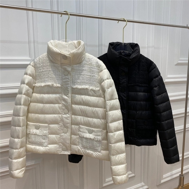 2020 new Women Light and Warm Down Jakcet 90% High Quality White Duck Down Filling Full Knitted Fabric Patchwork Light Down Coat 1