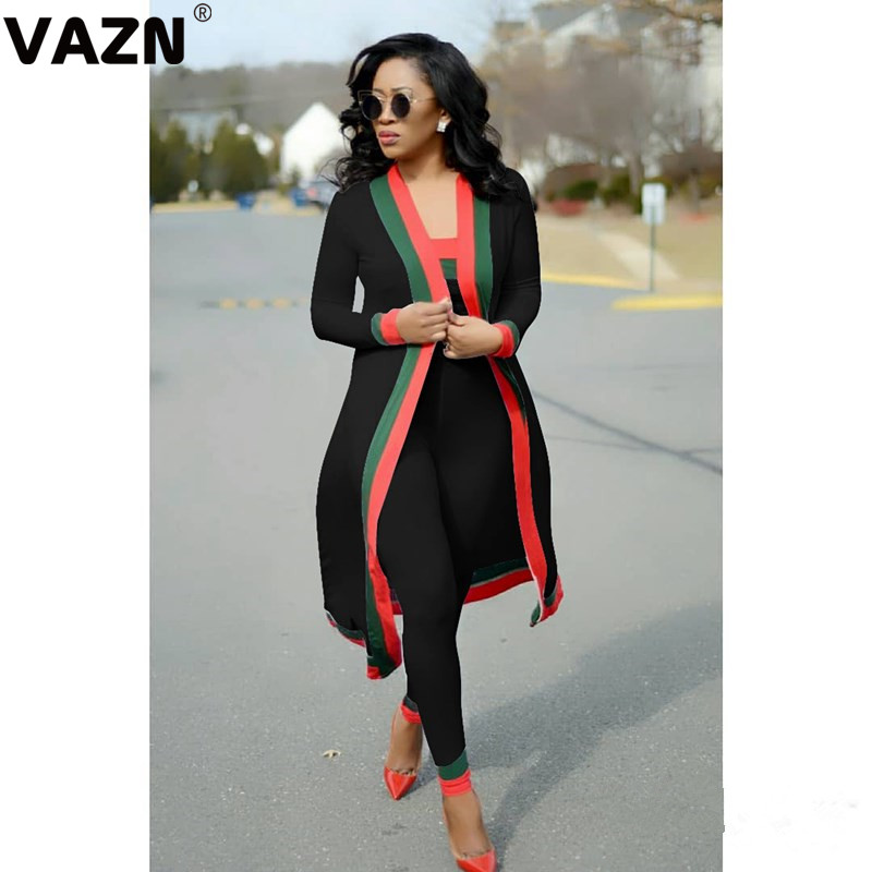 VAZN GLBXZ 1628 Top Quality Black 2019 Sport Set Solid Long sleeve Full Pant Office 2 Piece Sets Club Elegant Sets|Women's Sets| | - AliExpress