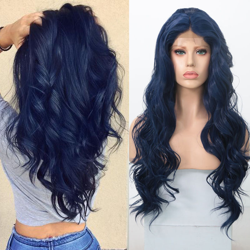 RONGDUOYI Long Dark Blue Wig Heat Resistant Fiber Hair Synthetic Lace Front Wigs For Women Middle Part Natural Wave Cosplay Wig