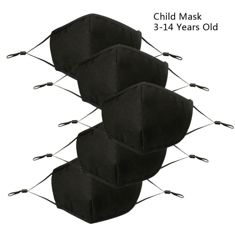 5Pcs Children Black Mask Adjustable Dust Proof PM2.5 4 Layer Cotton Mouth Mask Washable Reusable Outdoor Face Mask Kids