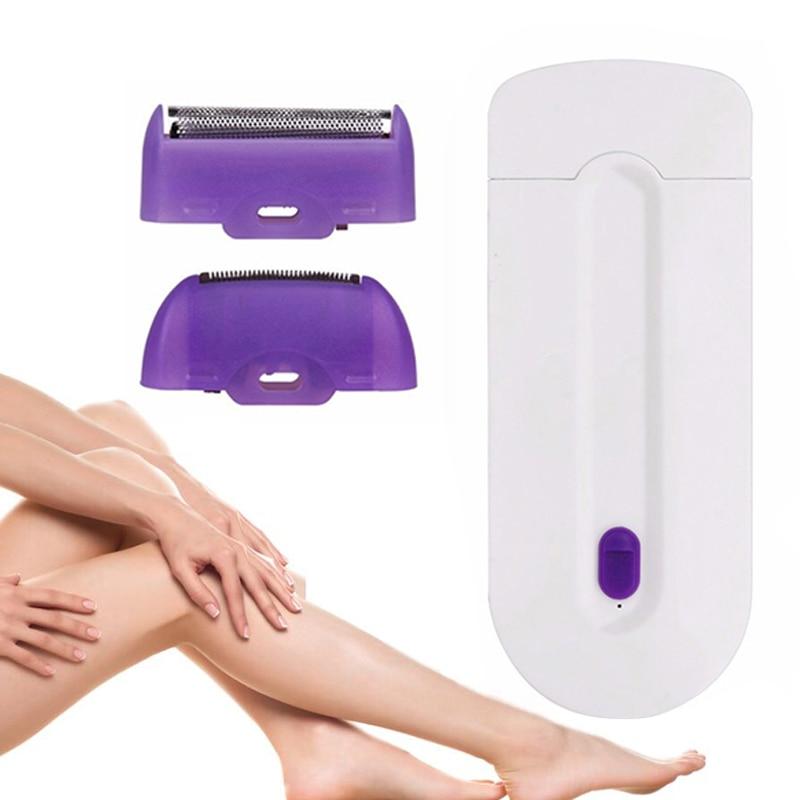 Barbeador de Indução para a Remoção do Cabelo 2 em 1 Feminino Depilador Elétrico Corpo Navalha Instantânea Sensor Luz Bikini Trimmer