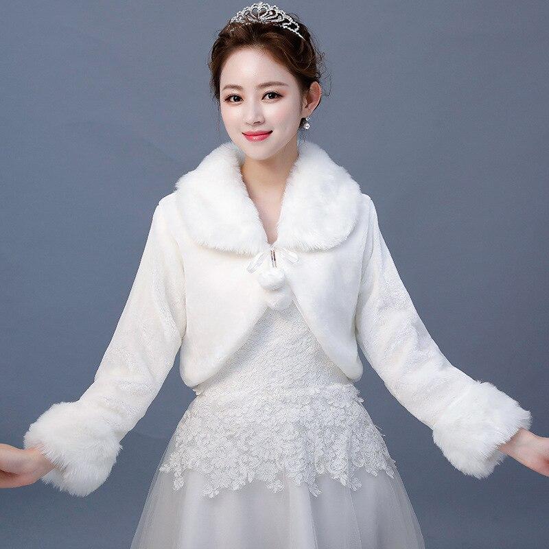 Long Sleeve Faux Fur Cape Shawl  For Women Winter Warm Coat White Faux Fur Wraps For Bridesmaids Bridal Wedding Bolero Jacket