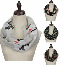 Women Print Christmas Theme Scarf Snowman Deer Scarf Cotton Loop Scarves Female Winter Keep Warm Long Scarves(China)