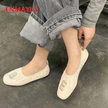 ENMAYLA Band Genuine Leather Shoes Woman High Heel Party Round Toe Elastic Square Heel Sheepskin Fashio  Pumps Wedding Shoes