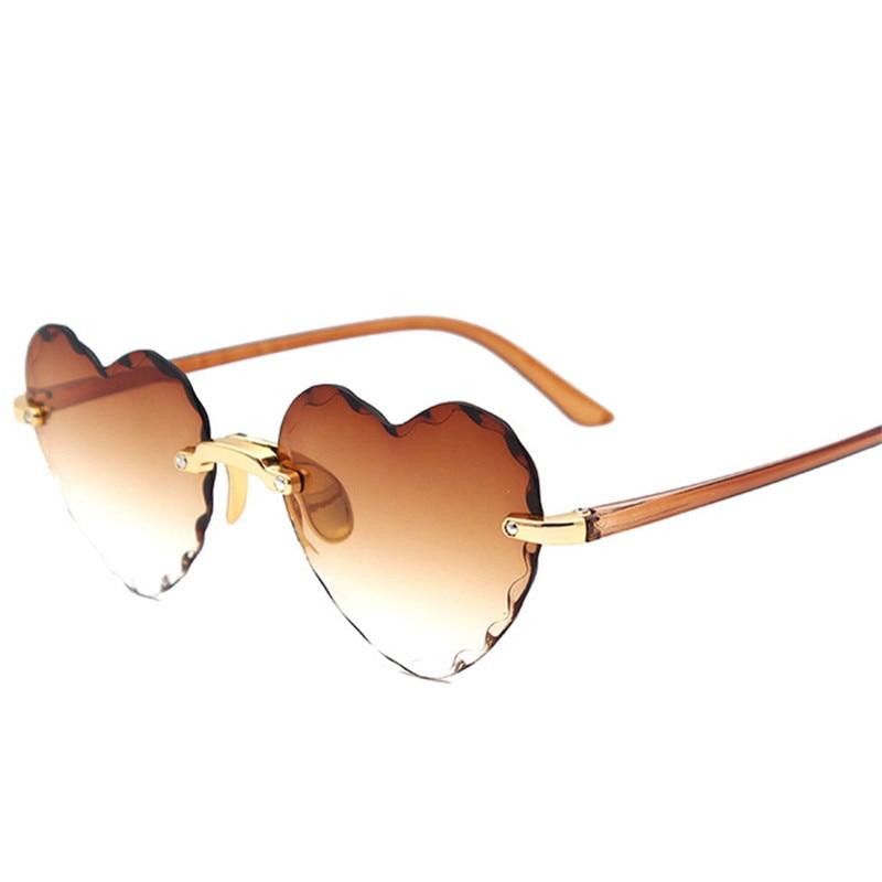 Women Rimless Sunglasses Fashion Heart-shaped Sun Glasses for Wome Vintage Cute 90s Gradient Shades Eyeglasses  UV400 10