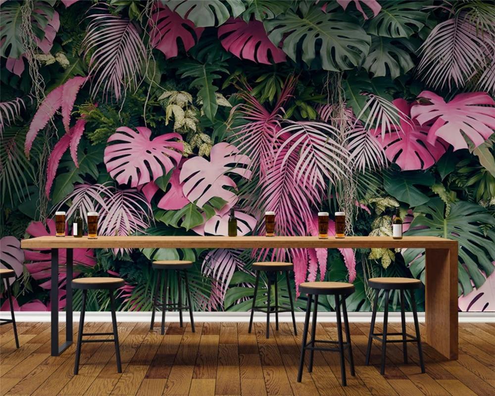 Beibehang papel de parede personalizado moda moderna rosa verde tropical floresta tropical planta fundo