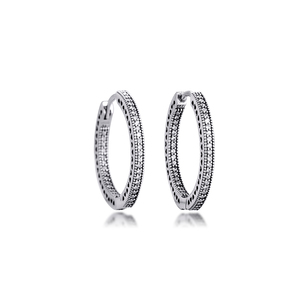 Image 2 - Authentic 925 Sterling Silver Hearts of Signature Hoop Earrings with Clear CZ 27 mm Earrings for Women Girls Gift  brincos