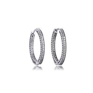 Image 2 - Otantik 925 ayar gümüş kalpler of imza Hoop küpe temizle CZ ile 27 mm küpe kadınlar kızlar için hediye brincos