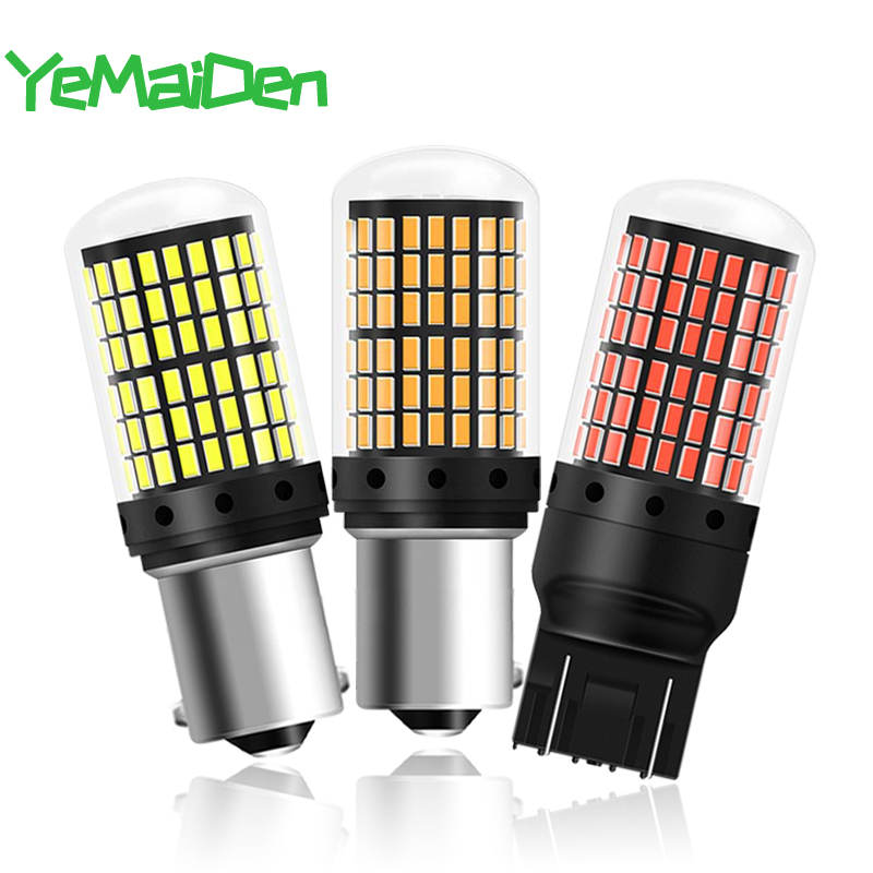 1x T20 7443 <font><b>LED</b></font> Bulb <font><b>Canbus</b></font> P21W <font><b>PY21W</b></font> 1156 BA15S BAY15D <font><b>LED</b></font> Singal Light 144 SMD No error 12V 6000K Car Reverse Brake Lihgt Red image