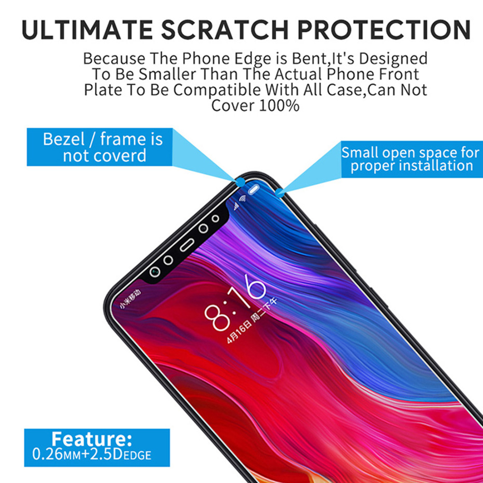Glass Film on For Xiaomi redmi note 5 6 7 8 pro 8t  Tempered Glass Screen Protectors (6)