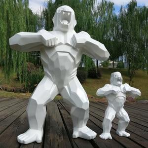 "Image 4 - 80cm 32""Gorilla Monkey geometric Creative Home Statue sculpture Desktop Decoration Office Decorative Resin Decor Living Room gif"