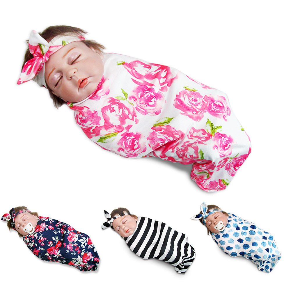 Toddler Infant Baby Blanket newborn Sleeping Swaddle Headband Set cocoon Cute SS muslin blanket 0 3 months Striped free shipping in Blanket Swaddling from Mother Kids