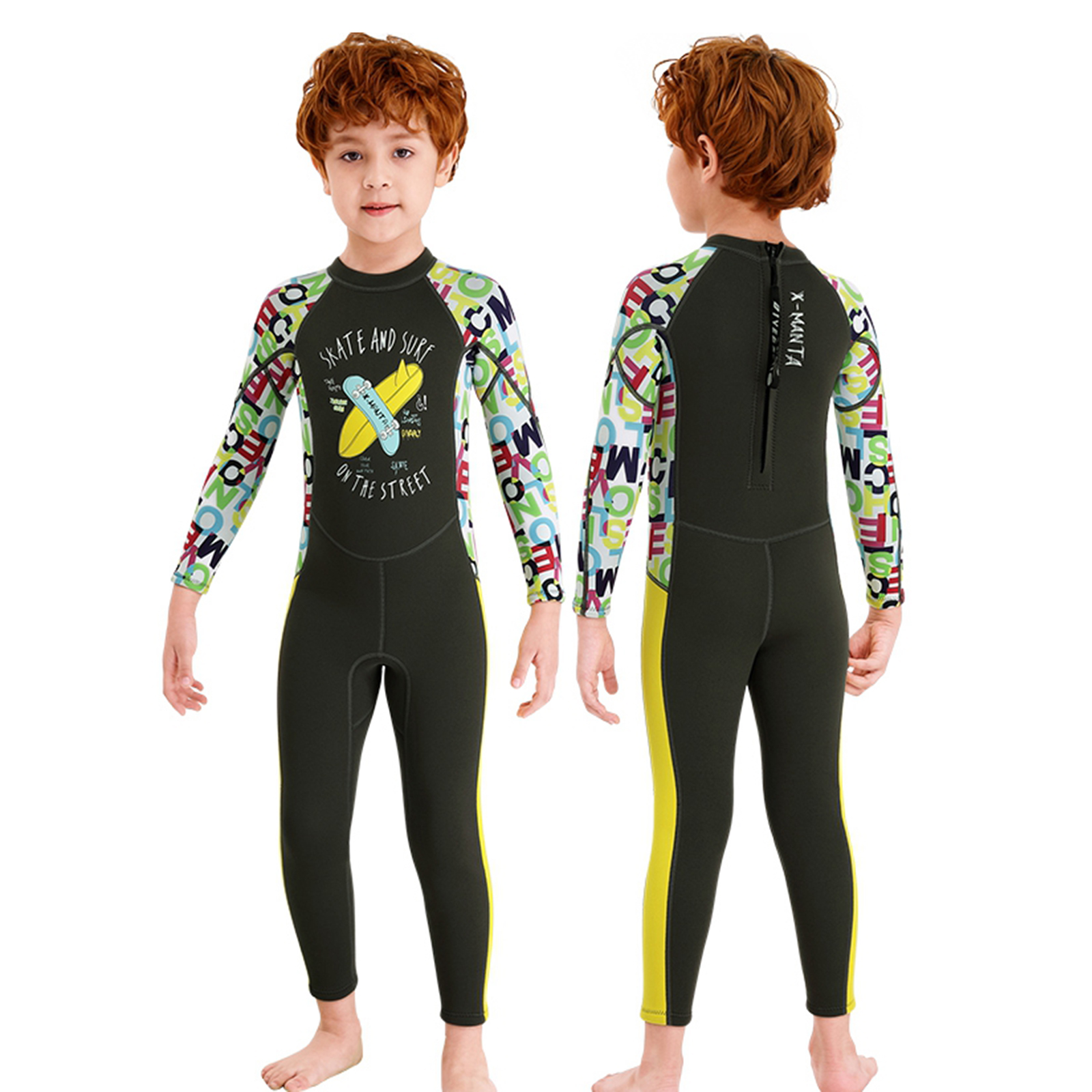 Kids Wetsuit Premium 2.5mm Neoprene Warm Full Body Diving Suit Scuba Back Zip Rash Guard One Piece Long Sleeve Jumpsuit