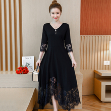 Spring and autumn new style Large size L-5XL womens dress Lace stitching temperament black