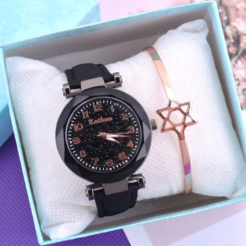 Casual Women Watches Starry Sky Quartz Wristwatch Female Clock Leather Fashion Ladies Wrist Watches reloj mujer relogio feminino 1
