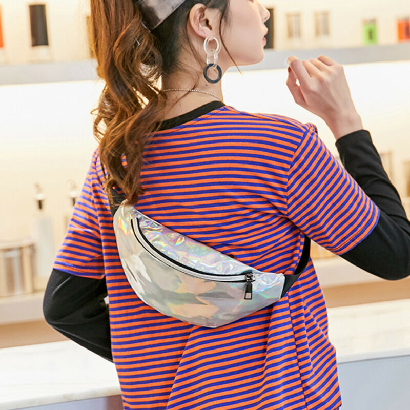 Women Waist Pack Iridescent Holographic Fanny Pack Shiny Waist Bag Hip Purse Travel Bags /BY