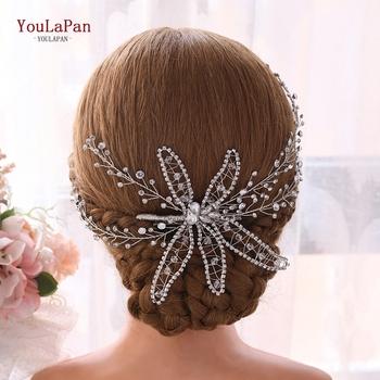 YouLaPan Sliver biżuteria ślubna do włosów Rhinestone ślubna opaska do włosów korona ślubna i Tiara Fower ślubne na włosy winorośli stroiki HP281 tanie i dobre opinie Ze stopu cynku Śliczne Romantyczny Hairwear Moda Koronki PLANT Opaski Kobiety 20*25CM 7 87*9 84IN wedding headband bridal headpieces