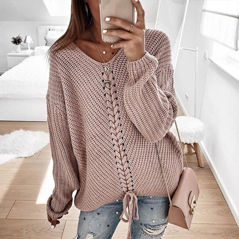 Plus Size Knitted Women Pullover Sweaters V-Neck Lace Up Sweater Female 2019 Autumn Fall Patchwork Loose Casual Ladies Clothing