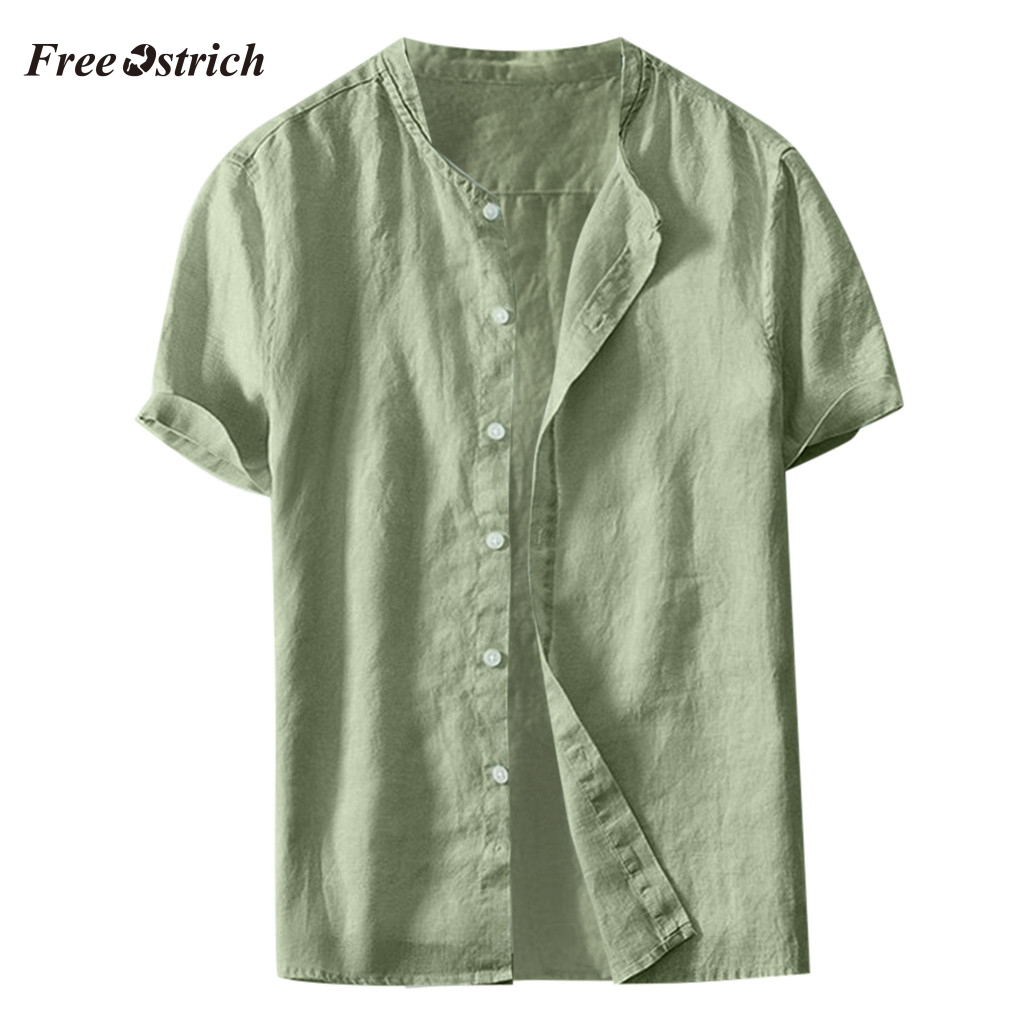 Free Ostrich Fashion Short Sleeve <font><b>Men</b></font> <font><b>Shirts</b></font> <font><b>Summer</b></font> <font><b>Men's</b></font> <font><b>Shirt</b></font> Cool Thin Breathable Solid Color Button Cotton <font><b>Shirt</b></font> 91128 image