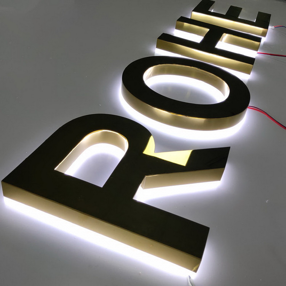 3D Mirror Golden Halo Lit Letters SUS With Acrylic In Back For Storefront Signs Light Up Signs