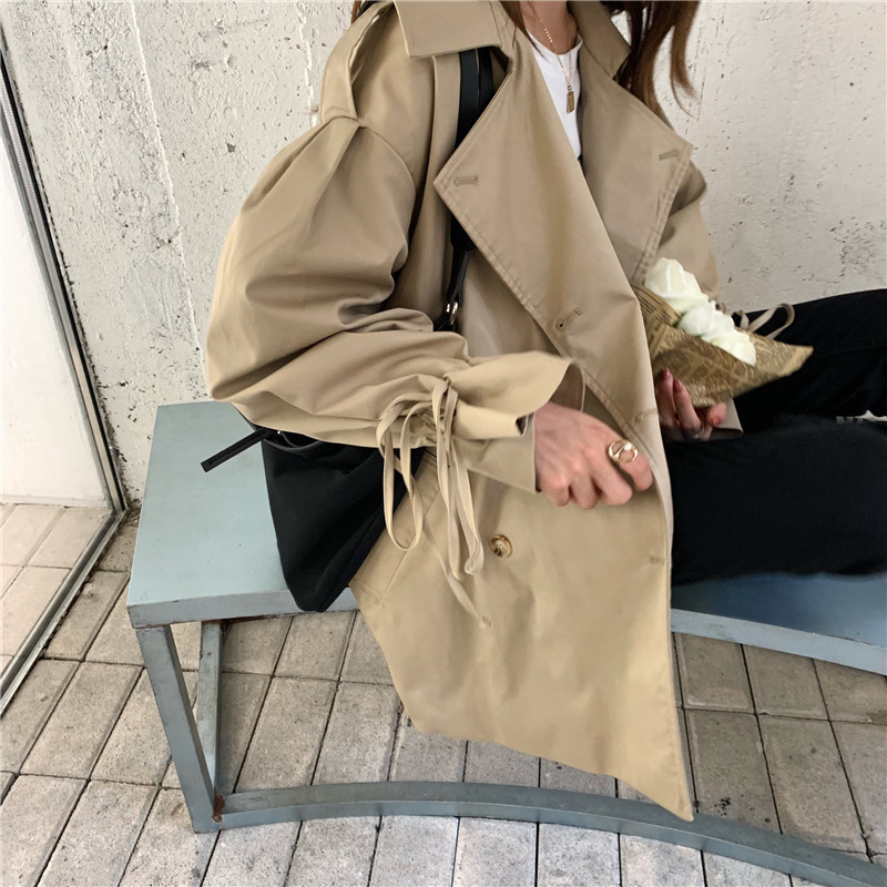 Lapel-strap Waistband Cuff Drawstring Cropped Trench Coat