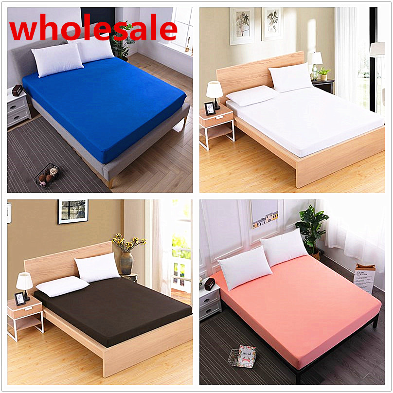 Solid Color Fitted Sheet Mattress Cover Bed Linen With Elastic Band Mattress Protector Pad 100%Polyester King Size Bedding Set