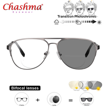 Transition Photochromic Bifocal Reading Glasses Optical Hyperopia Metal Frame UV400 Sunglasses