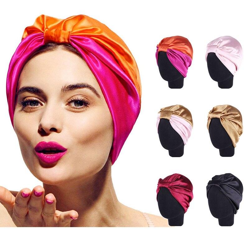 Женская шелковая шляпа-тюрбан, атласная эластичная повязка на голову, шапочка, шарф, богемный дышащий головной убор, аксессуары для волос