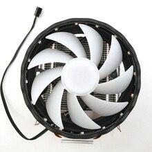 Прочный Настольный компьютер медный радиатор Led 2 тепловые трубки охлаждения 3 Pin тихий кулер процессора 12 В RGB вентилятор для LGA 1155/1151 AMD
