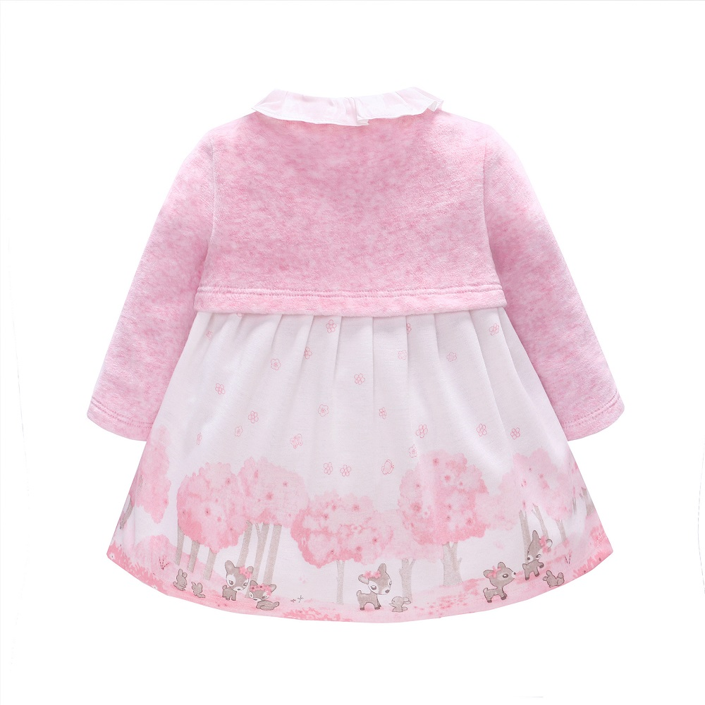 Vlinder Baby Girl Dress baby girl clothes printed flower Spring autumn Lovely Pink Princess Dress Birthday dress 9M-3T