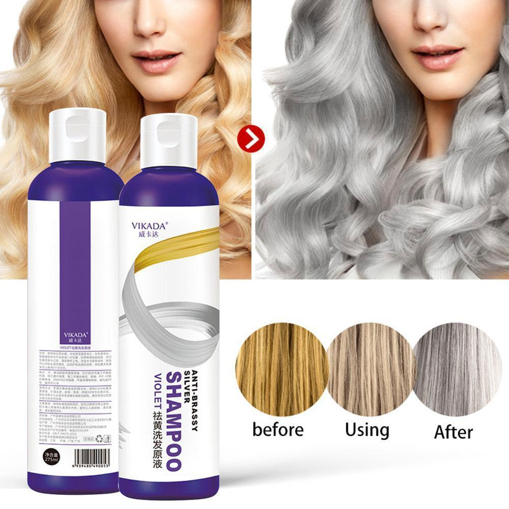 275ml Shampoo Hair Dye Yellow Removing Linen Gray Silver Color Blonde Lock For Silver Gray Bleached Shampoo Protecting Colo S6Z7
